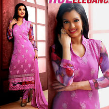 ORCHDPINK CHIFFON INDIAN SALWAR KAMEEZ SUIT DRESS MATERIAL RESHAM EMB LADIES DEN
