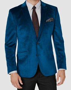 $155 Kenneth Cole Men's 40S Blue Slim Fit Velvet Dinner Jacket Sport Coat Blazer