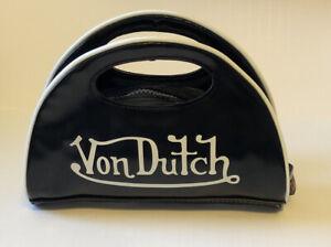 Von Dutch 2003 Mini Clutch Black & White Kustommade Originals Cutout Handles EUC