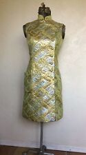 VINTAGE 1960's 70's Dynasty MOD Metallic GREEN & GOLD Asian COCKTAIL DRESS S
