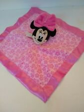 New listing Disney Baby Pink Plush Minnie Mouse lovey Security Blanket satin flower toy