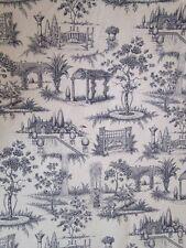 Antique  Vintage Style French Toile de Jouy Cotton Fabric Secret Garden