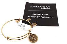 NEW Alex and Ani Initial U Rafaelian Gold Bangle with Tag, Box, and Card