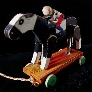 Vintage Wood Horse & Jockey PullToy w Tin Base Hustler Toy Corp Sterling IL FINE