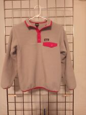 Girls large (12) Patagonia Synchilla gray pink snap t fleece pullover