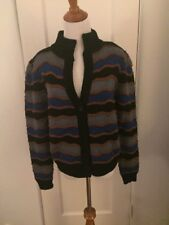 Vintage Poi by Krizia Sweater 1980's Button Fall Colors Padded Shoulders 42