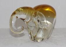 Heavy Art Glass Topaz and Clear Glass Elephant Figurine
