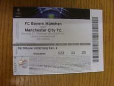 Billete De 27/09/2011: FC Bayern Munich v Manchester City [Liga de Campeones] (plegado, L