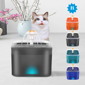 2L Pet Water Fountain Cat Dog Electric Automatic Drinking Dispenser &Filters LED