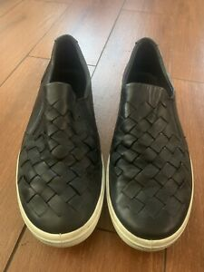 Ecco Soft 7 Woven Slip-On Sneakers black leather women size US 41/10 NO FOOTBEDS