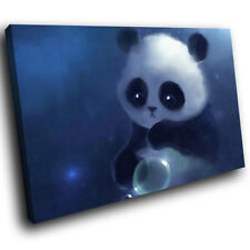 A236 Blue Panda Graphic Black Funky Animal Canvas Wall Art Large Picture Prints