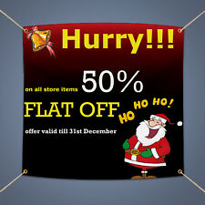 Hurry 50% Flat Off Banner, Holiday Sale Advertising Vinyl Business Sign 3' X 2'