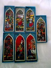 """PRECIOUS MOMENTS Complete Set Of 7 Painted """"stained glass"""" Church Window Ornmts"""