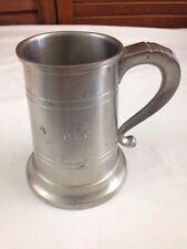 Colonial Pewter by Boardman Glass Bottom Tankard Mug Engraved