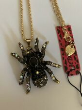 Betsey Johnson Crystal black multi spider  charm Sweater chain necklace-BJ87029
