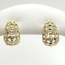 "New 10K Gold Diamond Cut Filigree ""C"" Hoop Post Stud Earrings"