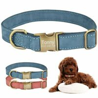 Leather Personalized Dog Collar Custom Engraved Pet Tag ID Name Adjustable S M L
