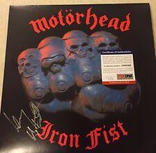 "MOTORHEAD ""IRON FIST"" Signed Vinyl Record Album RARE LEMMY KILMISTER PSA AB60469"