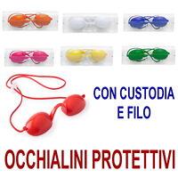OCCHIALINI Protettivi PROTEZIONE Occhi LAMPADA SOLE Raggi UV Occhiali rossi blu