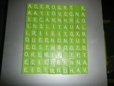 SET of 100 LIME GREEN AND WHITE Scrabble Wooden Tiles Letters ARTS AND CRAFTS