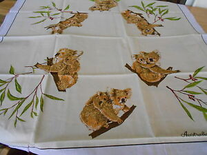 Vintage Souvenir Tablecloth - Koala - New in Packet All Cotton