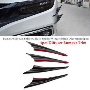 4PCS Front Bumper Side Lip Splitters Spoiler Winglet Blade Spats Diffuser Trim