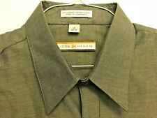 NEW JOHN HENRY LT BROWN 60% 40% POLY COTTON DRESS SHIRT NEW W/TAGS 17-34/35