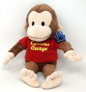 """applause curious george monkey plush bean bag 8"""" tall red shirt with tag"""