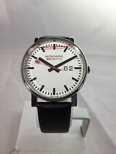 "Unisex Mondaine ""Swiss Railway"" White Dial/Black Leather -  Analogue, Date"