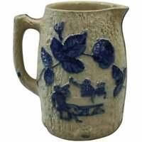 Utica White's Pottery, NY Blue Decorated Stoneware Jug, Pub Scene, circa 1880