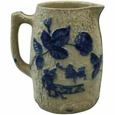 Utica White's Pottery, NY Blue Decorated Stoneware Jug, Pub Scene, circa 1880