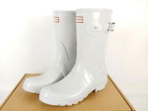 Hunter Women's Original Rain Buckle Boots Size US 9 White Short Gloss Feather