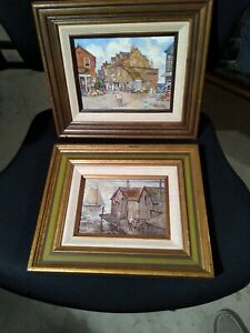 Leslie Cope (1913-2002) 2 Oil on Board Paintings Rockport Mass.1 Street 1 Boats