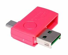OTG microSD USB Cardreader Kartenleser für Smartphone Tablet SDHC Card Magenta