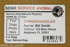 CUSTOM MADE SERVICE DOG VEST ID CARD BADGE CARD FOR SERVICE ANIMAL  ADA TAG 16