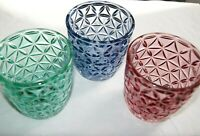 Jeff Banks Tealight Holder Set Of 3 Daisy Glass Ports Of Call Green Blue Pink