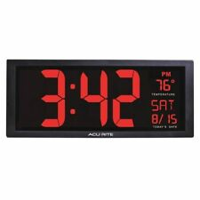 BRAND NEW ACU RITE Digital Led Wall Clock, w/In Temp
