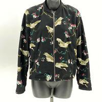 Zara TRF collection floral bird print bomber jacket US M Black Multicolor