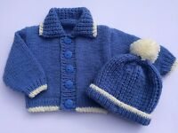 KNITTING PATTERN 53 to knit baby boys hat & cardigan in 5 sizes (INSTRUCTIONS)