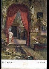 ART - PEINTURE / MODELE dans ATELIER d'ARTISTE par Prof. PAPPERITZ début 1900