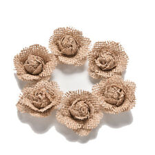 6X Handmade Burlap Natural Pearl Roses Shabby Flowers Rustic Wedding Decor ES