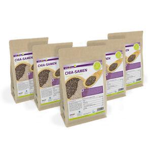 Vita2You Chia Samen 5 x 1kg Zippbeutel - Salvia Hispanica - Premium Qualität