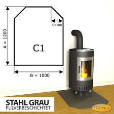 Kaminbodenplatte Funkenschutz ✔ Ofenplatte Ofen ✔ Kaminofenplatte Stahl grau C1
