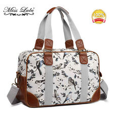 Women Oilcloth Birds Flora Satchel Messenger Cross Body Shoulder Tote Bag Grey