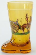 VINTAGE GLASS BOOT SHOT BEER MINIATURE TANKARD HORSE DRAWN CART DESIGN