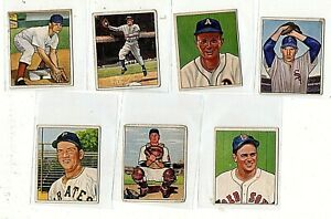 1950 Bowman Baseball (7) Card Lot Bob Kuzava #5 Wally Westlake #69 +++