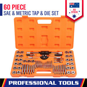 60-Piece Tap & Die Set Metric + Imperial Screw Thread Drill Kit with Pitch Gauge