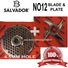 Salvador No12, 4.5mm Mincer Grinding Plate and Mincer blade Knife. 100% Genuine.