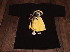 "vintage 1989 WALLACE & GROMIT ""dog"" mens L large black shirt BBC cartoon RARE }{"