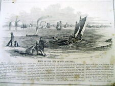 <1851 illustrated newspaper EARLY VIEWS of PHILADELPHIA Pennsylvania SPARKS SHOT